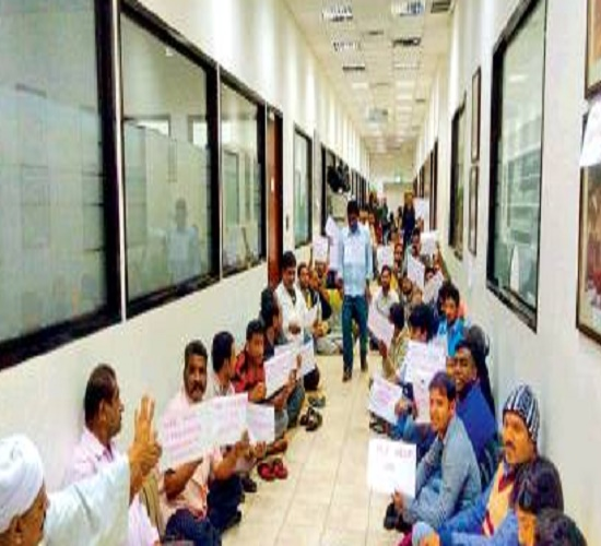 Hundreds Of Telangana Workers Sit In Protest For Salaries At